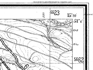 Reduced fragment of topographic map de--mb--025k--49_057--(1929)--N051-06_E015-10--N051-00_E015-20; towns and cities Lesna