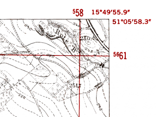 Reduced fragment of topographic map de--mb--025k--49_060-ams--(1952)--N051-06_E015-40--N051-00_E015-50