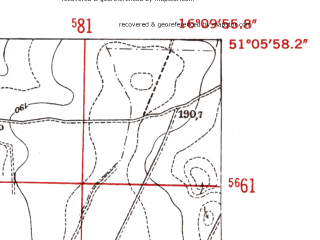 Reduced fragment of topographic map de--mb--025k--49_062-ams--(1952)--N051-06_E016-00--N051-00_E016-10