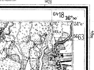 Reduced fragment of topographic map de--mb--025k--49_066--(1936)--N051-06_E016-40--N051-00_E016-50; towns and cities Katy Wroclawskie