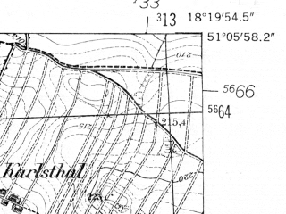 Reduced fragment of topographic map de--mb--025k--49_075-ams--(1952)--N051-06_E018-10--N051-00_E018-20