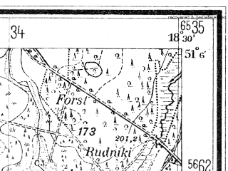 Reduced fragment of topographic map de--mb--025k--49_076--(1940)--N051-06_E018-20--N051-00_E018-30; towns and cities Praszka