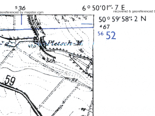 Reduced fragment of topographic map de--mb--025k--50_006-ams--(1955)--N051-00_E006-40--N050-54_E006-50; towns and cities Frechen