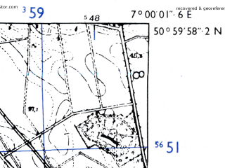 Reduced fragment of topographic map de--mb--025k--50_007-ams--(1955)--N051-00_E006-50--N050-54_E007-00; towns and cities Koln