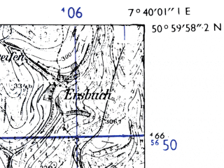 Reduced fragment of topographic map de--mb--025k--50_011-ams--(1955)--N051-00_E007-30--N050-54_E007-40