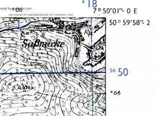 Reduced fragment of topographic map de--mb--025k--50_012-ams--(1955)--N051-00_E007-40--N050-54_E007-50