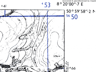 Reduced fragment of topographic map de--mb--025k--50_015-ams--(1955)--N051-00_E008-10--N050-54_E008-20