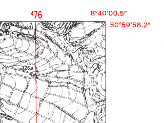 Reduced fragment of topographic map de--mb--025k--50_017-ams--(1952)--N051-00_E008-30--N050-54_E008-40