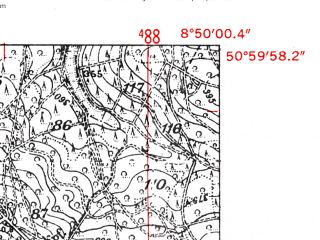 Reduced fragment of topographic map de--mb--025k--50_018-ams--(1952)--N051-00_E008-40--N050-54_E008-50