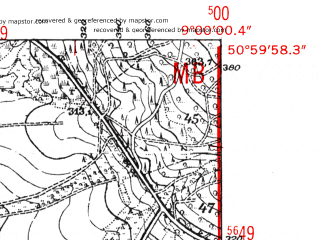 Reduced fragment of topographic map de--mb--025k--50_019-ams--(1952)--N051-00_E008-50--N050-54_E009-00