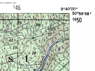 Reduced fragment of topographic map de--mb--025k--50_023-ams--(1954)--N051-00_E009-30--N050-54_E009-40