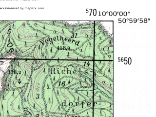 Reduced fragment of topographic map de--mb--025k--50_025-ams--(1954)--N051-00_E009-50--N050-54_E010-00