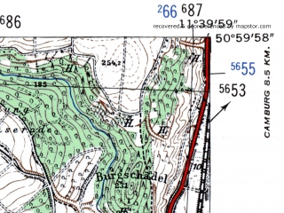Reduced fragment of topographic map de--mb--025k--50_035-ams--(1954)--N051-00_E011-30--N050-54_E011-40; towns and cities Jena