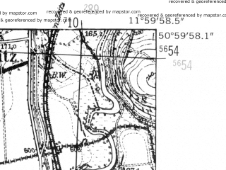 Reduced fragment of topographic map de--mb--025k--50_037-ams--(1952)--N051-00_E011-50--N050-54_E012-00; towns and cities Eisenberg