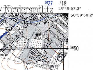 Reduced fragment of topographic map de--mb--025k--50_048-ams--(1952)--N051-00_E013-40--N050-54_E013-50; towns and cities Freital