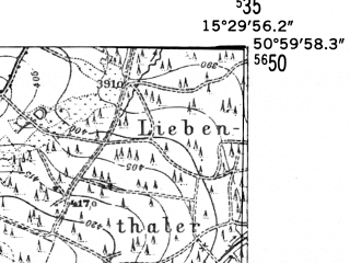 Reduced fragment of topographic map de--mb--025k--50_058-ams--(1952)--N051-00_E015-20--N050-54_E015-30; towns and cities Swieradow-zdroj