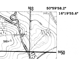 Reduced fragment of topographic map de--mb--025k--50_063-ams--(1952)--N051-00_E016-10--N050-54_E016-20