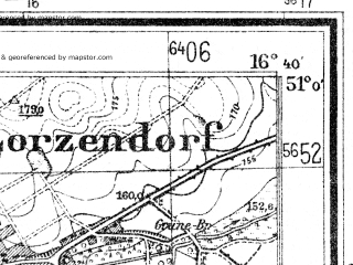 Reduced fragment of topographic map de--mb--025k--50_065--(1943)--N051-00_E016-30--N050-54_E016-40