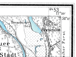 Reduced fragment of topographic map de--mb--025k--50_069--(1932)--N051-00_E017-10--N050-54_E017-20; towns and cities Olawa