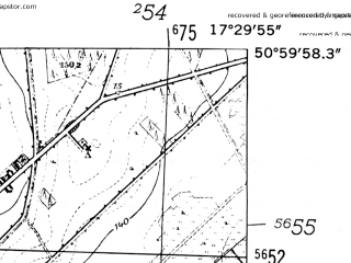 Reduced fragment of topographic map de--mb--025k--50_070-ams--(1952)--N051-00_E017-20--N050-54_E017-30
