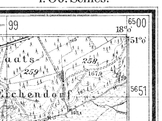 Reduced fragment of topographic map de--mb--025k--50_073--(1940)--N051-00_E017-50--N050-54_E018-00