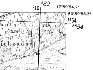 Reduced fragment of topographic map de--mb--025k--50_073-ams--(1952)--N051-00_E017-50--N050-54_E018-00