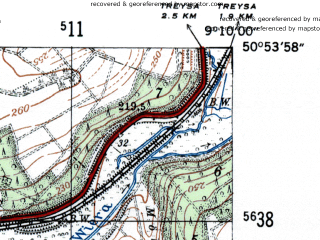 Reduced fragment of topographic map de--mb--025k--51_020-ams--(1954)--N050-54_E009-00--N050-48_E009-10