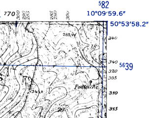 Reduced fragment of topographic map de--mb--025k--51_026-ams--(1952)--N050-54_E010-00--N050-48_E010-10