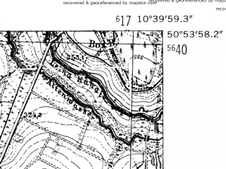 Reduced fragment of topographic map de--mb--025k--51_029-ams--(1952)--N050-54_E010-30--N050-48_E010-40