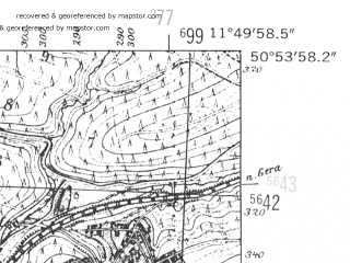 Reduced fragment of topographic map de--mb--025k--51_036-ams--(1952)--N050-54_E011-40--N050-48_E011-50