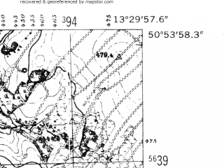 Reduced fragment of topographic map de--mb--025k--51_046-ams--(1952)--N050-54_E013-20--N050-48_E013-30