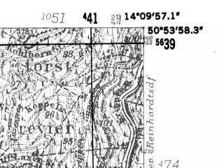 Reduced fragment of topographic map de--mb--025k--51_050-ams--(1952)--N050-54_E014-00--N050-48_E014-10