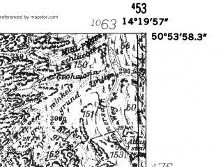 Reduced fragment of topographic map de--mb--025k--51_051-ams--(1952)--N050-54_E014-10--N050-48_E014-20