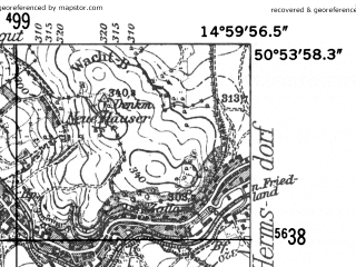Reduced fragment of topographic map de--mb--025k--51_055-ams--(1952)--N050-54_E014-50--N050-48_E015-00