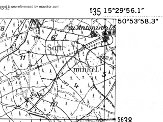 Reduced fragment of topographic map de--mb--025k--51_058-ams--(1952)--N050-54_E015-20--N050-48_E015-30