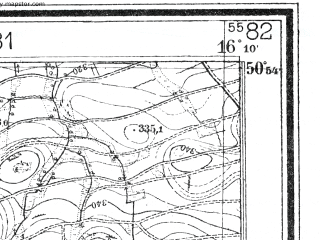 Reduced fragment of topographic map de--mb--025k--51_062--(1936)--N050-54_E016-00--N050-48_E016-10