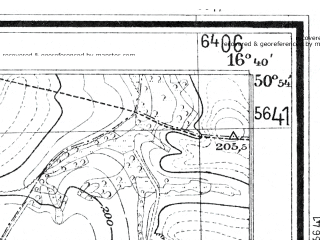 Reduced fragment of topographic map de--mb--025k--51_065--(1936)--N050-54_E016-30--N050-48_E016-40