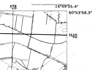 Reduced fragment of topographic map de--mb--025k--51_066-ams--(1952)--N050-54_E016-40--N050-48_E016-50