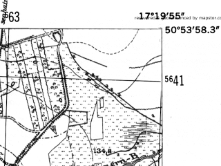 Reduced fragment of topographic map de--mb--025k--51_069-ams--(1952)--N050-54_E017-10--N050-48_E017-20; towns and cities Wiazow