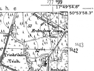 Reduced fragment of topographic map de--mb--025k--51_072-ams--(1952)--N050-54_E017-40--N050-48_E017-50