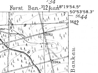 Reduced fragment of topographic map de--mb--025k--51_075-ams--(1952)--N050-54_E018-10--N050-48_E018-20