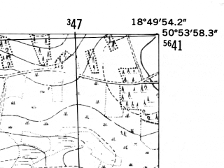 Reduced fragment of topographic map de--mb--025k--51_078-ams--(1952)--N050-54_E018-40--N050-48_E018-50