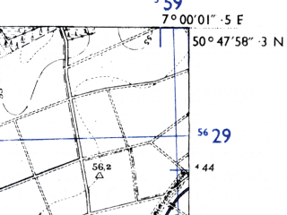 Reduced fragment of topographic map de--mb--025k--52_007-ams--(1955)--N050-48_E006-50--N050-42_E007-00; towns and cities Bornheim