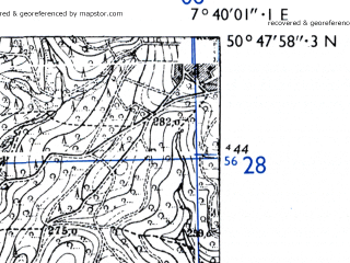 Reduced fragment of topographic map de--mb--025k--52_011-ams--(1955)--N050-48_E007-30--N050-42_E007-40
