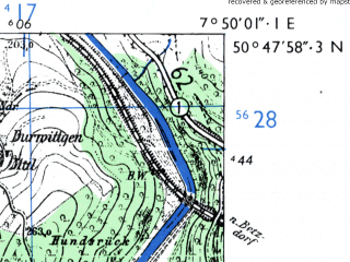Reduced fragment of topographic map de--mb--025k--52_012-ams--(1955)--N050-48_E007-40--N050-42_E007-50