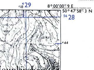 Reduced fragment of topographic map de--mb--025k--52_013-ams--(1955)--N050-48_E007-50--N050-42_E008-00