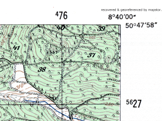 Reduced fragment of topographic map de--mb--025k--52_017-ams--(1954)--N050-48_E008-30--N050-42_E008-40
