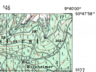 Reduced fragment of topographic map de--mb--025k--52_023-ams--(1954)--N050-48_E009-30--N050-42_E009-40