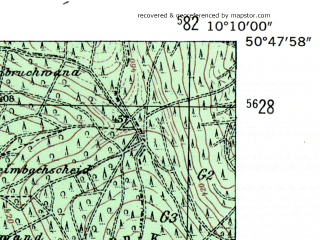 Reduced fragment of topographic map de--mb--025k--52_026-ams--(1954)--N050-48_E010-00--N050-42_E010-10