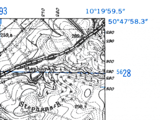 Reduced fragment of topographic map de--mb--025k--52_027-ams--(1952)--N050-48_E010-10--N050-42_E010-20